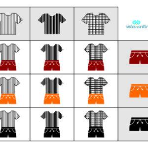 matriz lógica com conjunto de roupas