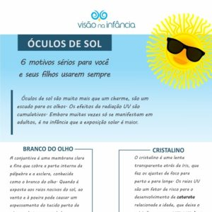 Infográfico com orientações sobre óculos de sol