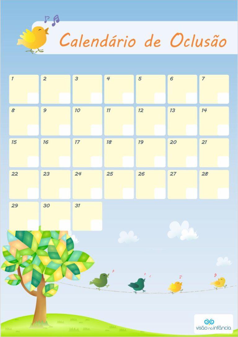 calendário para controle de uso do tampão ocular
