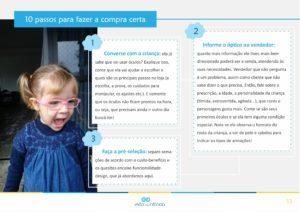 página do ebook Óculos Infantis