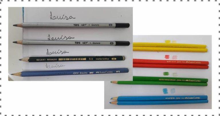 teste de cor e contraste com lápis de cor e grafite