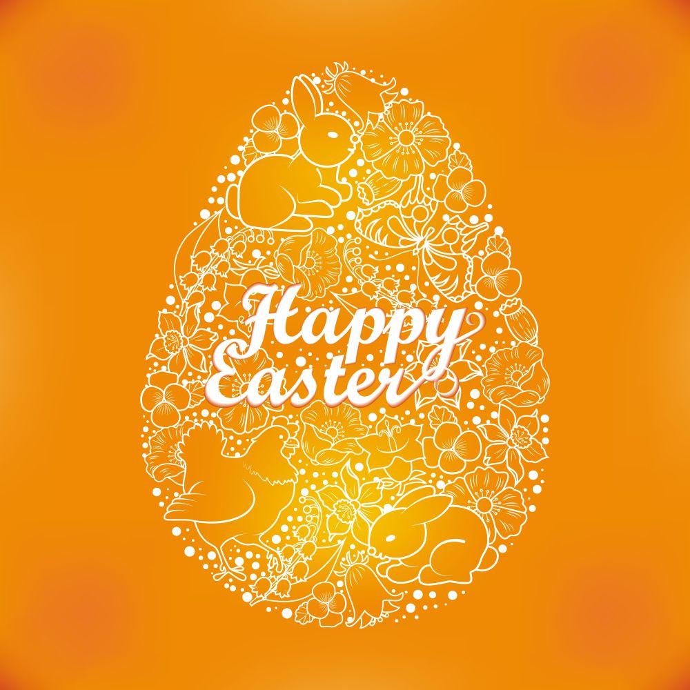 ilustração de um ovo de páscoa criando o efeito figura-fundo com elementos diversos