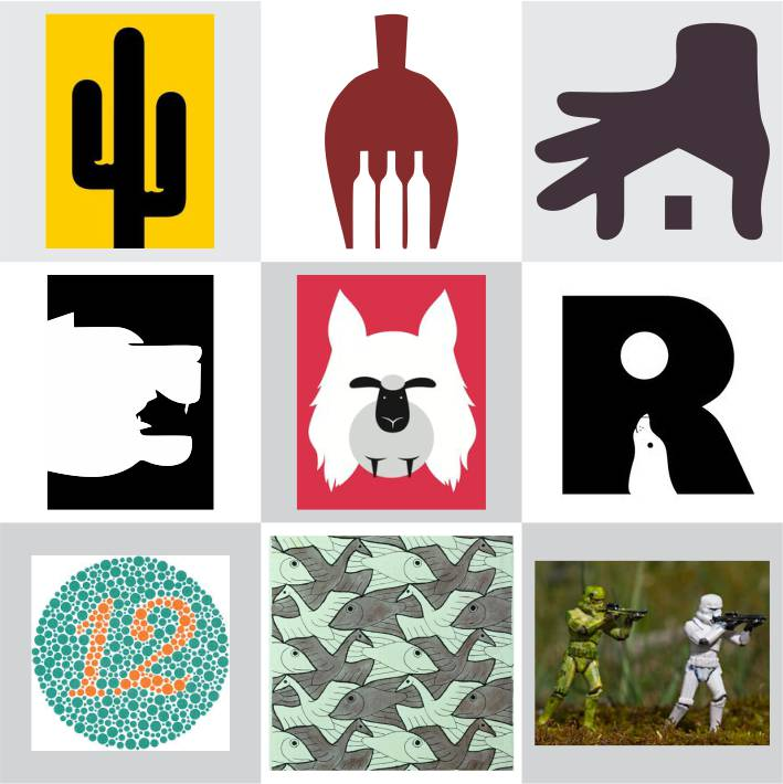 conjunto com seis figuras que causam ilustram exemplos de figura-fundo