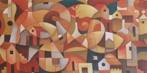 painel colorido com sobreposição de formas gerando efeito figura-fundo